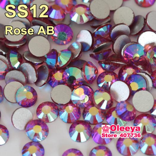 SS12(3.0-3.2mm) 1440pcs Nai Art Rhinestones Rose AB Flatback Non Hot fix Stone Nails For DIY Clothing Design H0424(China (Mainland))