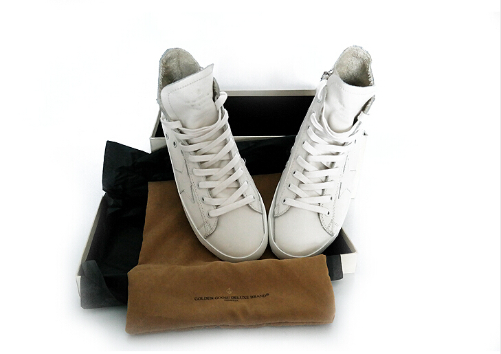 New Original Box Handmade Italy Brand,Golden Goose Ivory Sneakers,Fashion GGDB Superstar Lace-Up Flat With High Top Shoes<br>