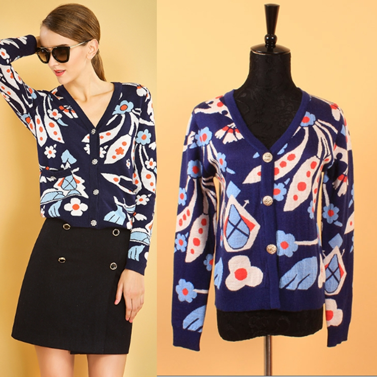 2015 Early Spring New Fashion European Streetwear Ladies Long Sleeve Flowers Printed Buttons Blue Sweater Cardigans(China (Mainland))