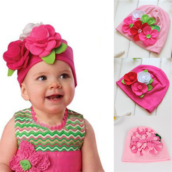 Nice Kids Baby Girls Lovely Headwear Big 3D Flower Beanies Cap Hats Photo Dress 3M-4Y Freeshipping(China (Mainland))