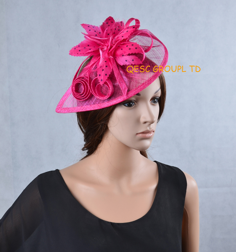 Fuchsia hot pink Sinamay Fascinator Hat with feather flower for Melbourne Cup,Ascot Races, Kentucky derby wedding.(China (Mainland))