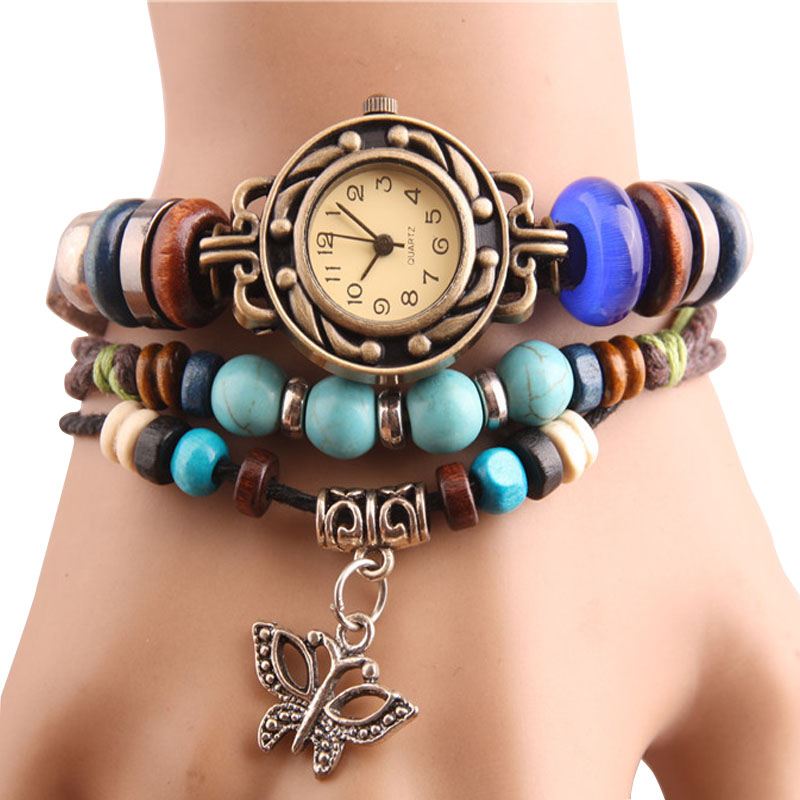 New Original Women dress Leather Vintage Watches ladies Bracelet Wristwatch butterfly Pendant Casual watch clock hours<br><br>Aliexpress