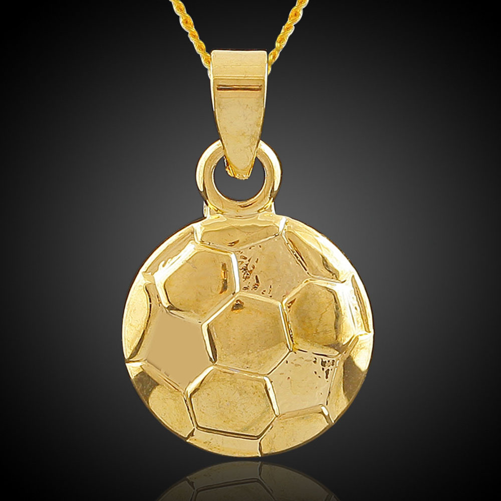 Unisex Fashion Jewelry 18K Gold Plated Hip Hop Necklace Football Soccer Ball Pendant Necklace Sports Fashion Free Shipping(China (Mainland))