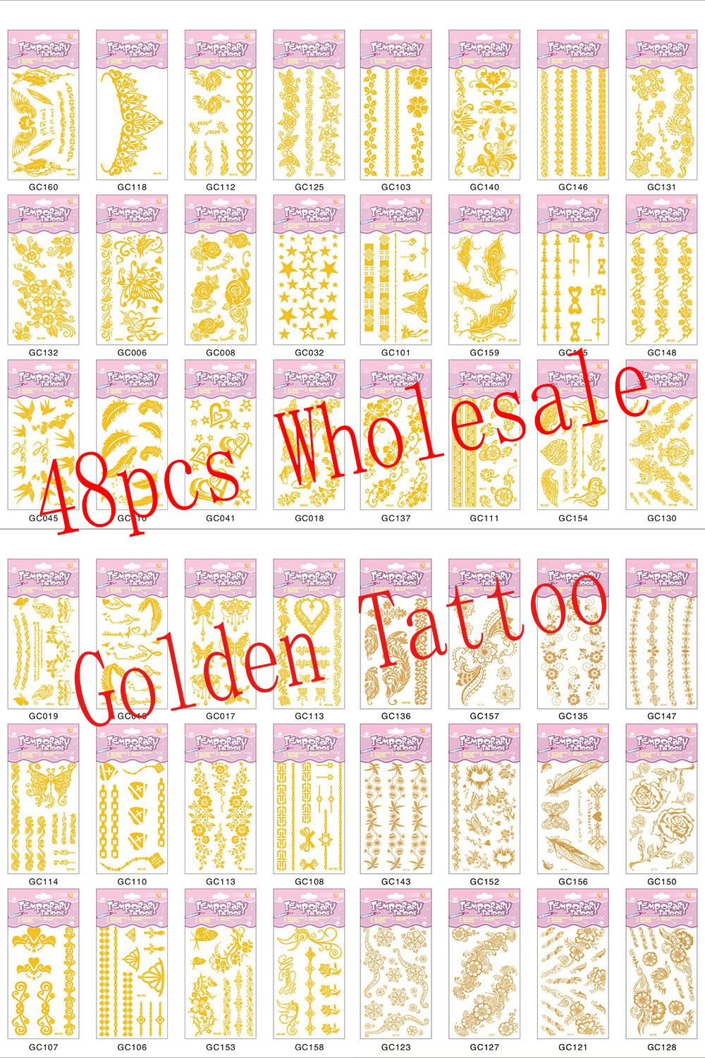 Wholesale 48 pcs Golden Tattoo Sticker metallic fake sexy body print gold tatoo temporary stickers feather foamposites sleeves(China (Mainland))