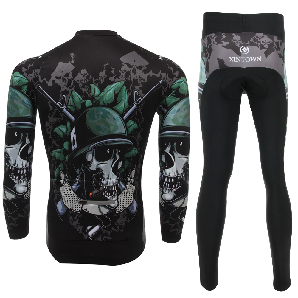 XINTOWN Unisex Skull Soldier Print Jersey Sets Cycling Bike Wicking Breathable Long Sleeve Bicycle Jersey Bib Pant S-4XL