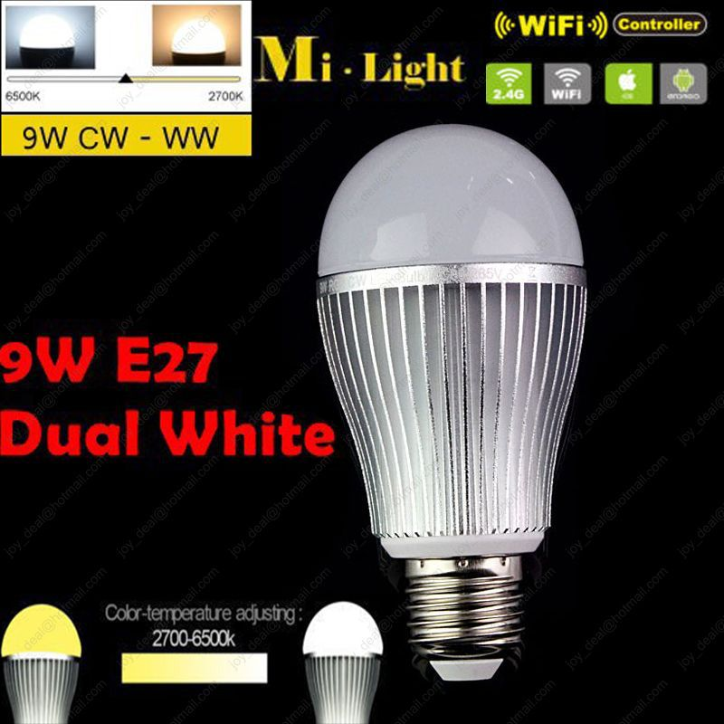 AC85-265V 2.4G Mi.light  E27 9W Color Temperature Adjustable Dual White(CW/WW) CCT LED Bulb Wifi Compatible for Android/iOS<br><br>Aliexpress