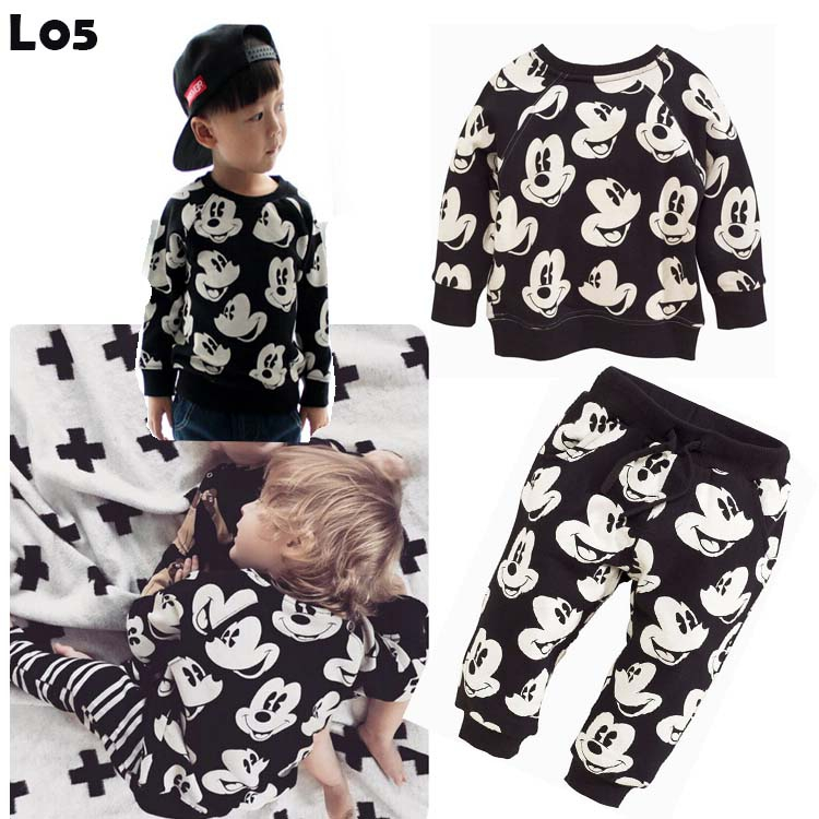 Spring autumn children's clothing set baby boys girls Mickey printed long-sleeved T-shirt + pants kids cartoon clothing set 2pcs(China (Mainland))