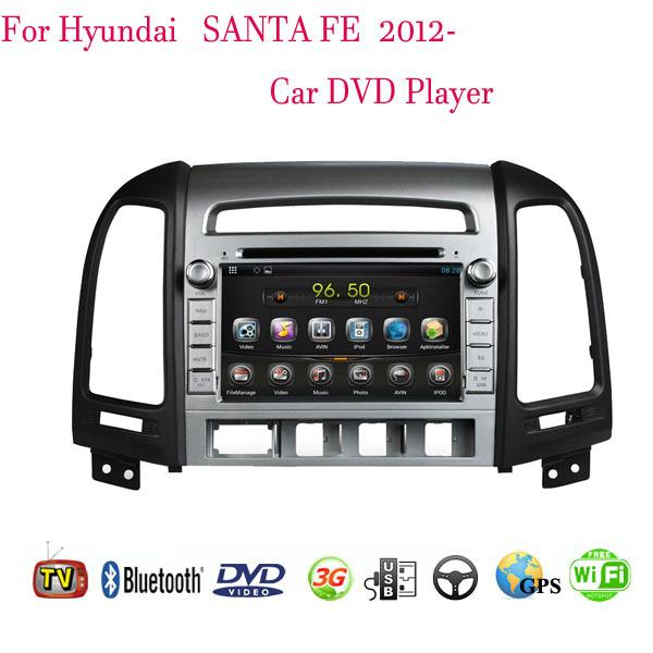 1024*600 Android 4.4.4 Fit HYUNDAI Santa Fe 2012 Car DVD Player GPS TV 3G Radio WIFI Bluetooth(China (Mainland))