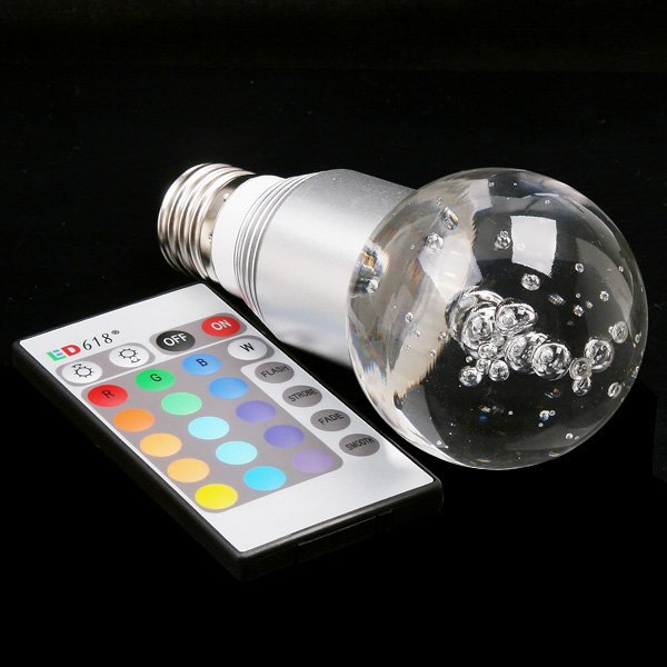 1PCS AC90~240V E27 3W RGB LED Bulb lamp Crystal Flash Led w/ Remote Control free shipping(China (Mainland))
