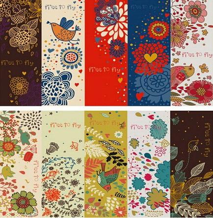 145*55mm/NEW Vintage Flower & Birds Series paper bookmark set/Creative Retro Book marks/card/bookband/Wholesale(China (Mainland))