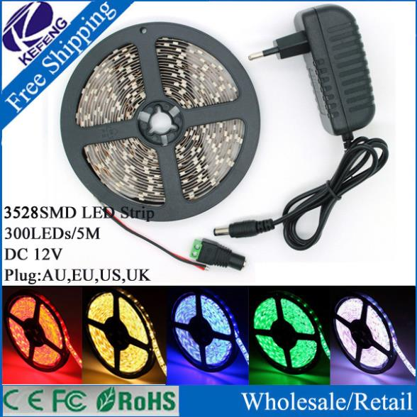 White/Bule/Yellow/Red/Green 5m RGB 3528 LED strip light tape diode 300leds non waterproof ip60 with DC 12V 2A power adapter(China (Mainland))