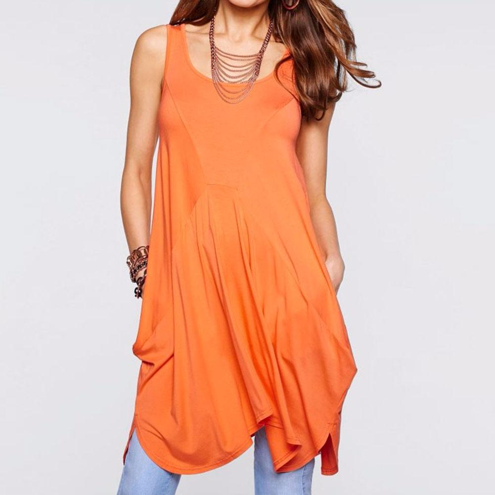 Women Summer Shirts Casual Ruffled Irregular Loose Solid Asymmetric Long Tank Tops Orange S/M/L/XL(China (Mainland))