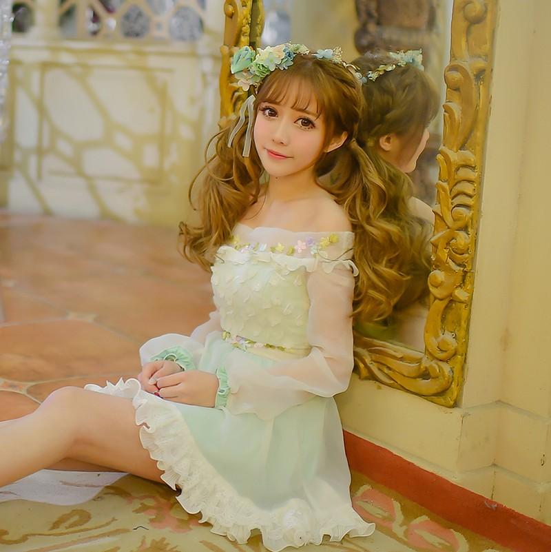 Princess sweet lolita dress Candy rain original spring 2016 new  super sweet Eugen collar embroidery yarn Chiffon C16AB6020 Одежда и ак�е��уары<br><br><br>Aliexpress