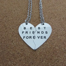 High Quality Stainless Steel Jewelry Broken Heart Best Friend Forever Pendant Necklace For Women 2 Parts Letter Necklace ()