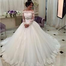 Buy Luxury Long Sleeve Lace Wedding Dresses Saudi Arabia Vestidos De Noiva Crystal Belt Ball Gown Bride Wedding Gowns Plus Size for $185.30 in AliExpress store