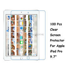 New 100 Pcs/Lot HD Clear Screen Protector For Apple iPad Pro 9.7 Inch Protective Film Guard With Cleaning Cloth