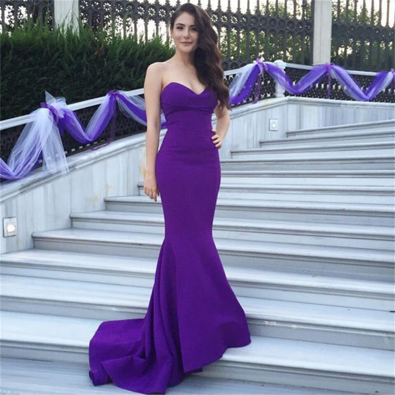 Wedding Guest Dresses Affordable : Sexy long purple evening dress cheap elegant