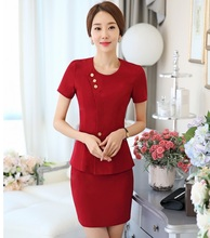 Formal OL Styles Professional Business Suits With Jackets And Skirt Female Blazers Outfits Office Work Wear Clothing Sets Red