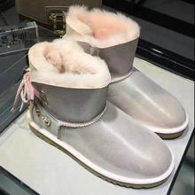 Bling Bling Luxury Sheepskin Snow Boots Australia Winter Fur Wool Snow Boots Classic Women Leather Ankle Boots Botas Mujer L240(China (Mainland))