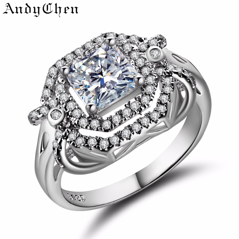 AndyChen Luxury Silver Plated Crystal Jewelry Wedding Rings for Women Vintage Engagement Bague Accessories Bijoux Femme ASR309(China (Mainland))