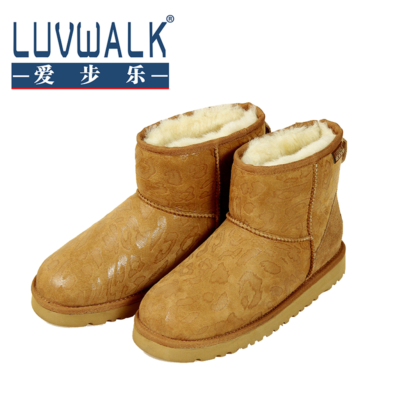 Snow Boots Women 2016 New Australia Class A Sheepskin Fur Leopard Snow Boots Warm Shoes Women Waterproof Boots Female 35-39 Hot(China (Mainland))