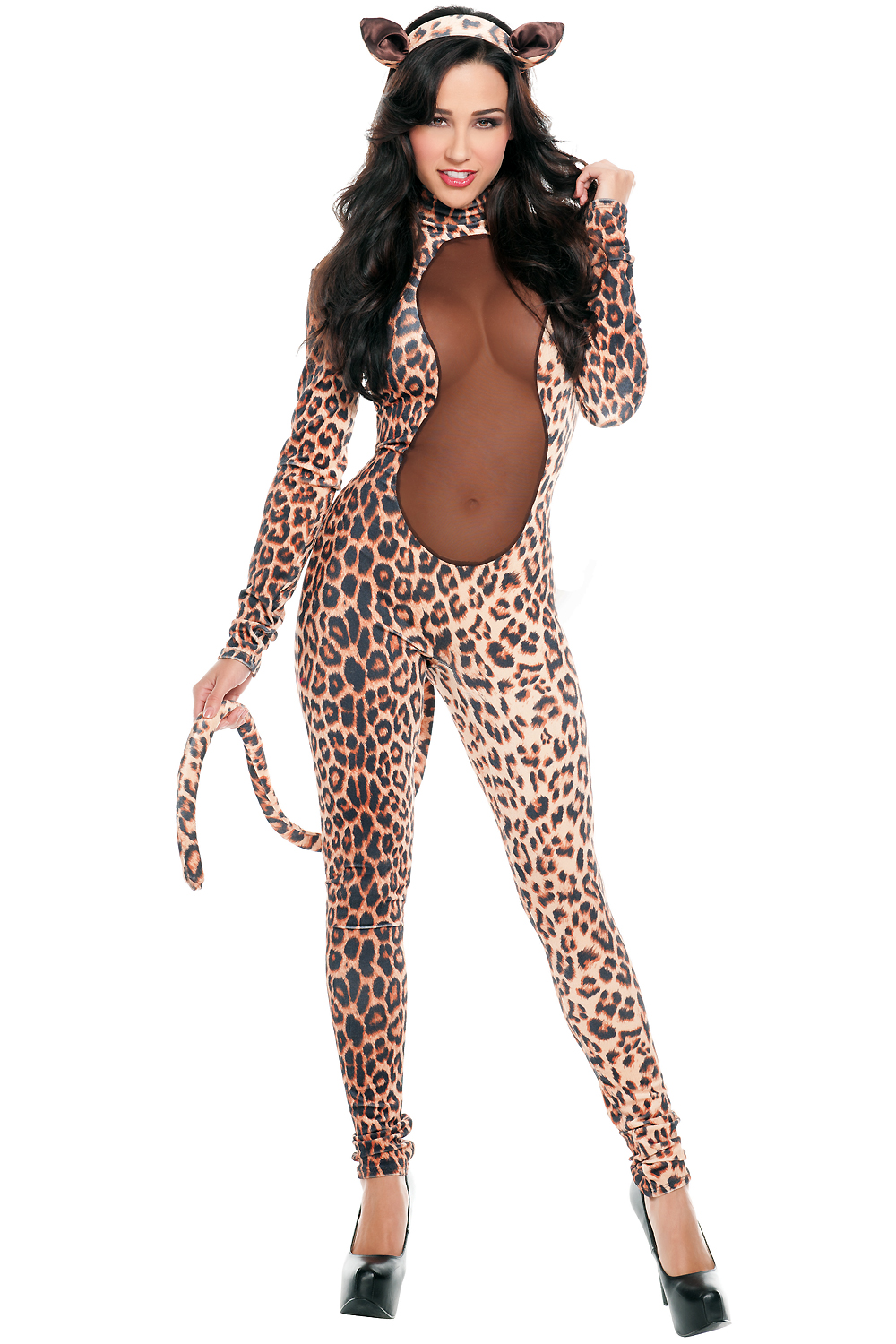 2017 New Sexy and Wild Womens Starline Kitty Costume Leopard Jumpsuit Body with Long Tail and Headpiece LC8754 Cosplay Costume(China (Mainland))