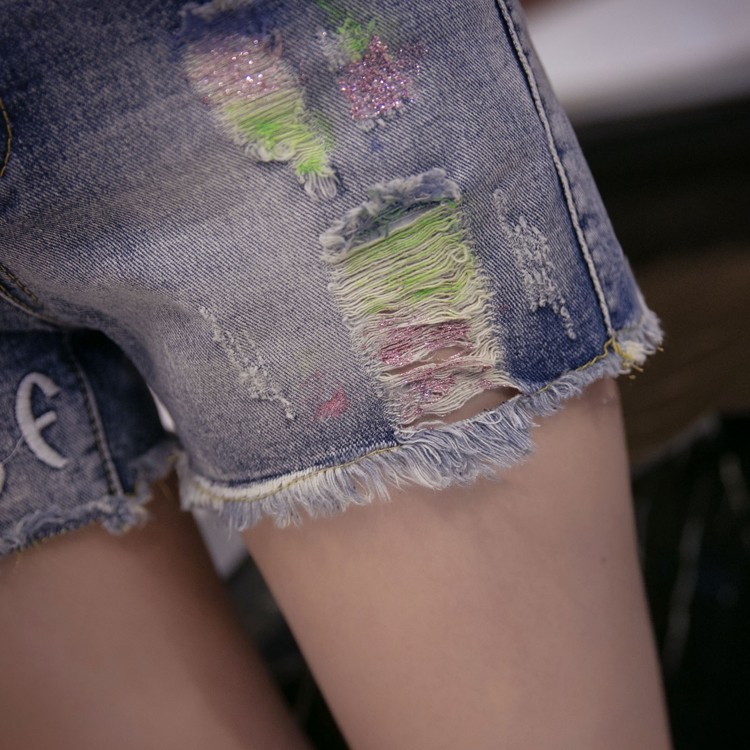 Europe station new denim shorts female denim shorts color Slim hole jeans letter personality wild