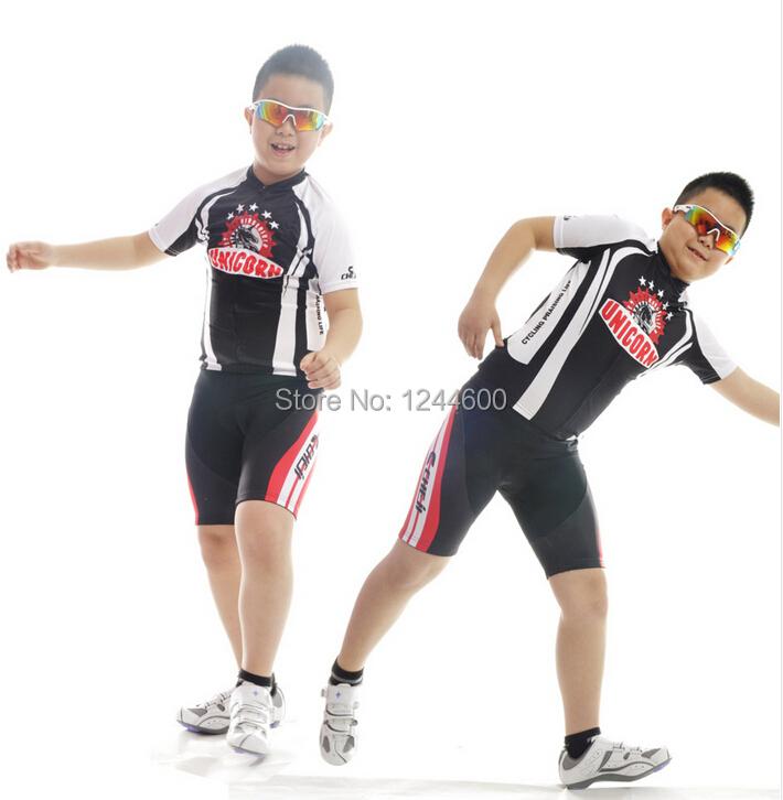 Kid Black Red Horserider Cycling Bike Short Sleeve Clothing Set Bicycle Children Suit Jersey + Shorts(China (Mainland))