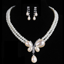 Pearl Bling Crystal Pendant Necklaces Earring Set