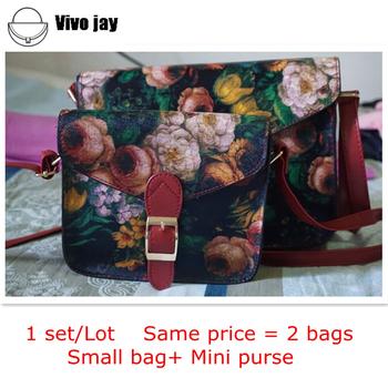1 set/lot 2015 NEW Women Vintage Oil Painting Messenger Bag Girl Flower Printing Shoulder Bag Lady Multi-function Handbag +Purse