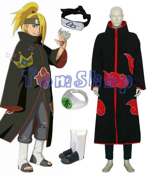 Hot Sale! Anime Naruto Akatsuki Deidara Cosplay Costume Combo Set (Cloak + Headband + Ninja Boots + Ring) Free Shipping(China (Mainland))