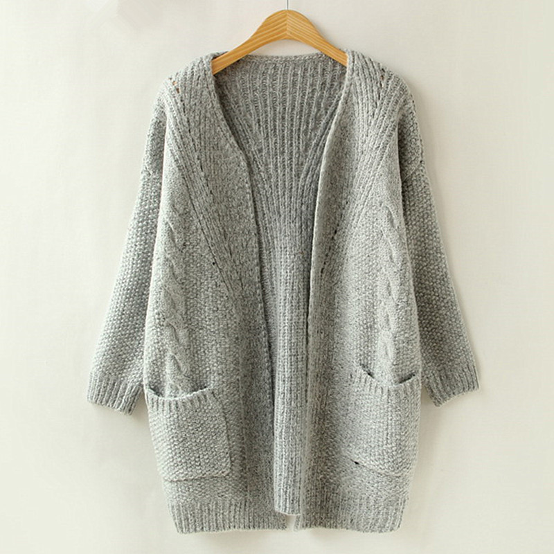 2016 Autumn Korean Version Solid Color Pocket Loose Sweater Female Long Sweater Cardigan Sweater(China (Mainland))