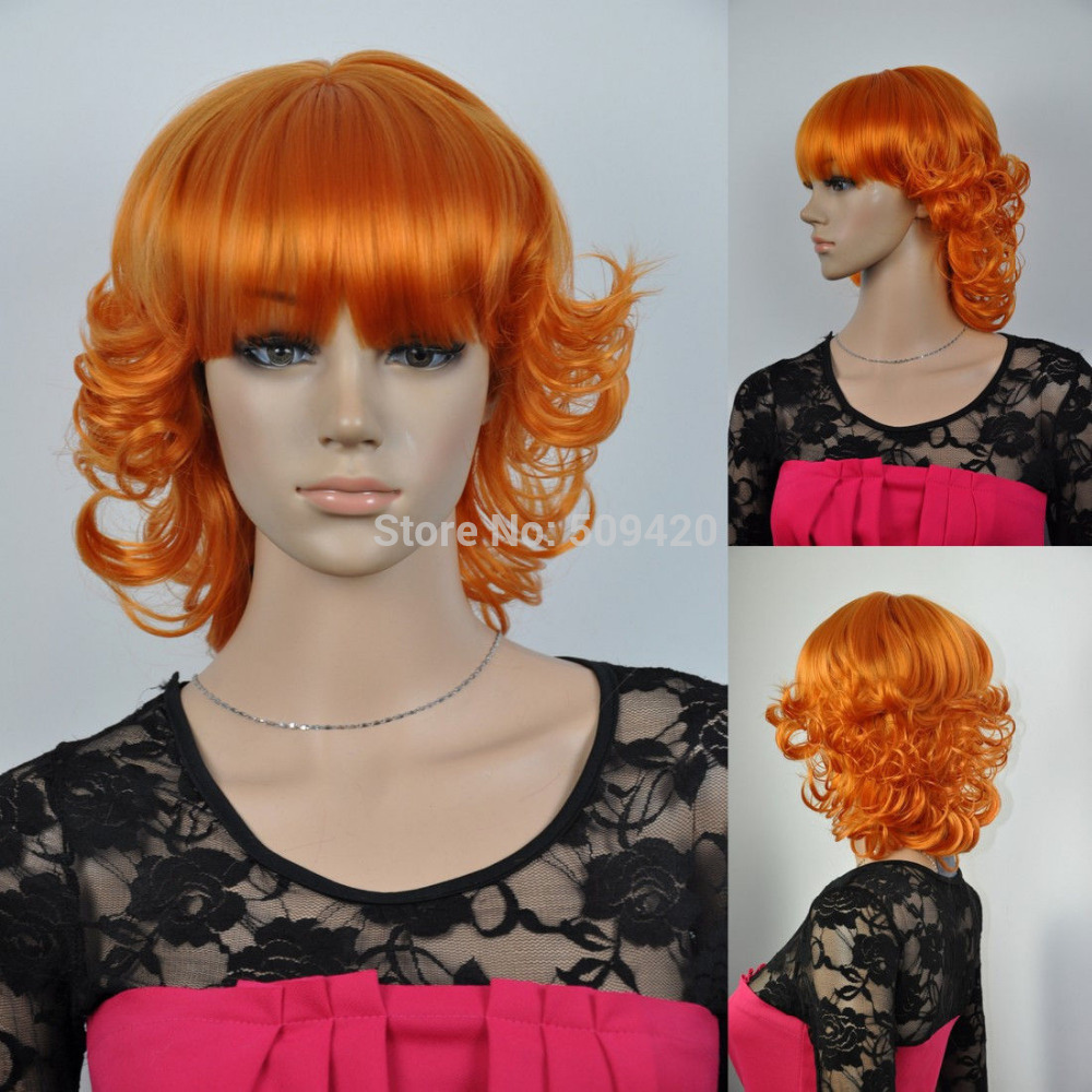 H5982Q>>women's short curly wavy full bangs bright orange cosplay hair wig synthetic(China (Mainland))
