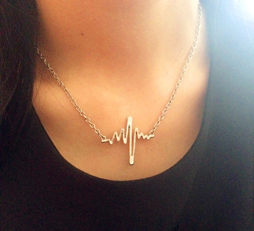 New fashion jewelry The unique design electrocardiogram charm pendant necklace for lovers mix color N1536