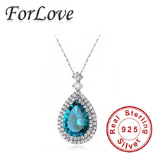 Two Gifts  Real Sterling Silver Blue Austrian Crystal Necklaces & Pendants 925 with Chain for Women jewelry  x465(China (Mainland))