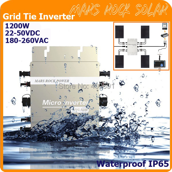 Waterproof!!! 1200W 22-50VDC 180-260VAC grid tie micro inverter with communication function with 2 meters cable for 36V system(China (Mainland))
