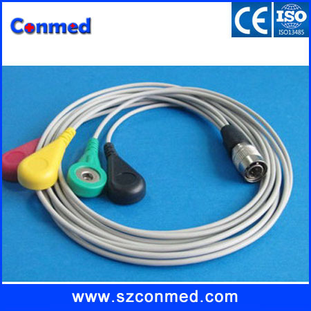 free shipping High quality Compatible shanghai PI Holter 4-lead ECG leadwire set,IEC,DIN3.85,snap(China (Mainland))