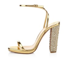 High-quality Customizable Women Summer Sandals Plus Size 4-15 Rivets Platform Open Toe Square Heels Sandals Gold Shoes Woman(China (Mainland))