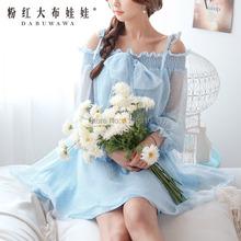 dabuwawa brand 2016 spring slim vintage sweet light blue women's bow party dress lady