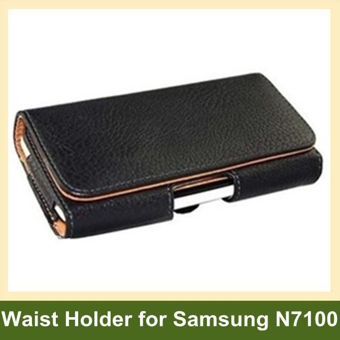 Luxury Lichee Pattern PU Leather Flip Case Waist Holder for New Samsung Galaxy Note2 N7100 12pcs/lot Wholesale Free Shipping