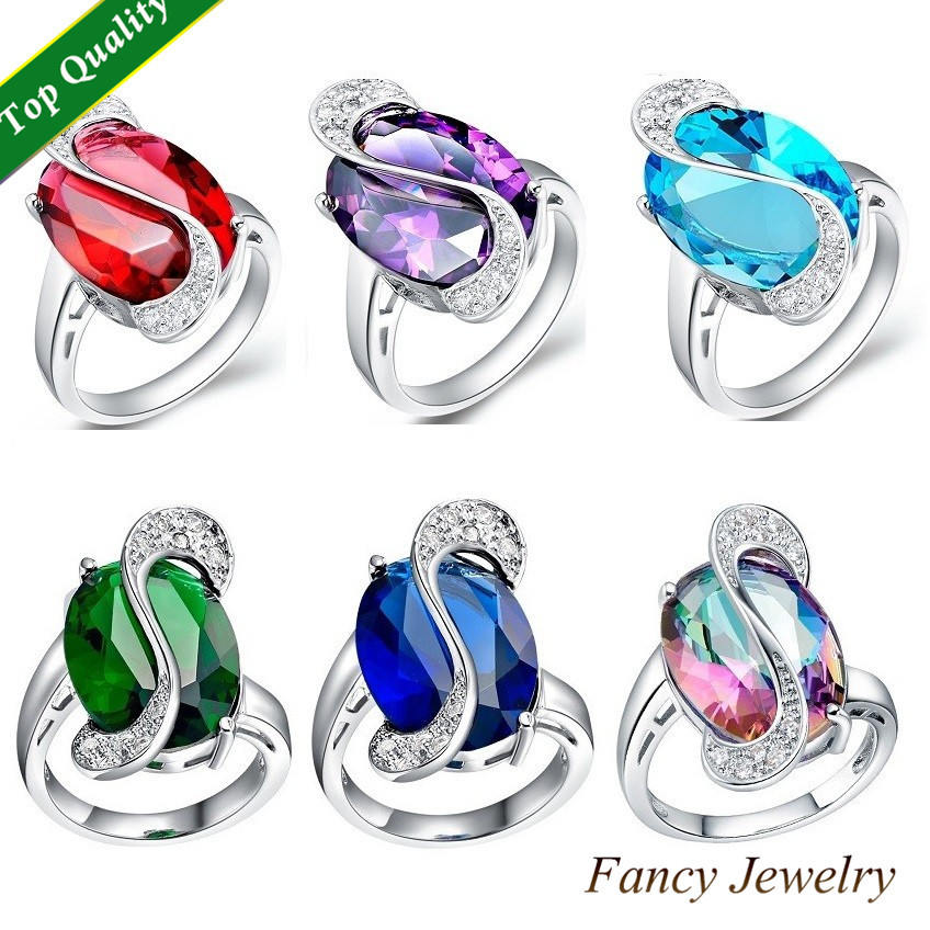 Luxury Fashion Noble Big Emerald Turquoise Amethyst Sapphire Ruby Crystal Simulated Diamond Rings Jewelry for Party