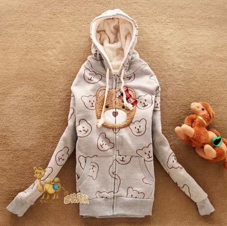 Hot Selling,,Occident Simple Women Bear Hoodie,Long Sleeve Sweatshirt,Fleece Sweater,(S-L),Best Quality - Cow's love store