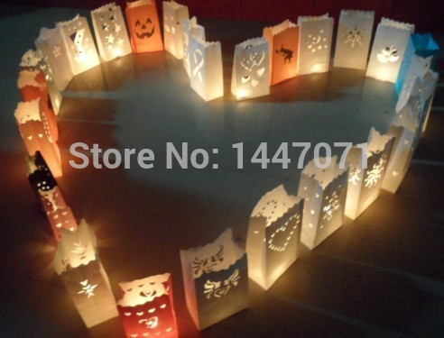 Fedex Wish Lantern Candle Bag For Wedding Holiday Home Garden Decoration Party Candle Bag Fireproof Paper Bags 500PCS(China (Mainland))