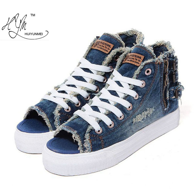 2016 New Arrivals canvas shoes women high canvas shoes cotton made finishing water wash denim Women flat casual shoes All match(China (Mainland))