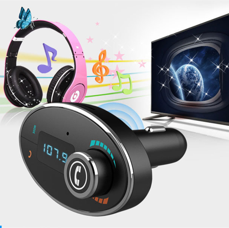 BT - C1 Portable Vehicle-mounted Bluetooth Mp3 Hands-free Car MP3 Player FM Radio with USB Charging Microphone(China (Mainland))