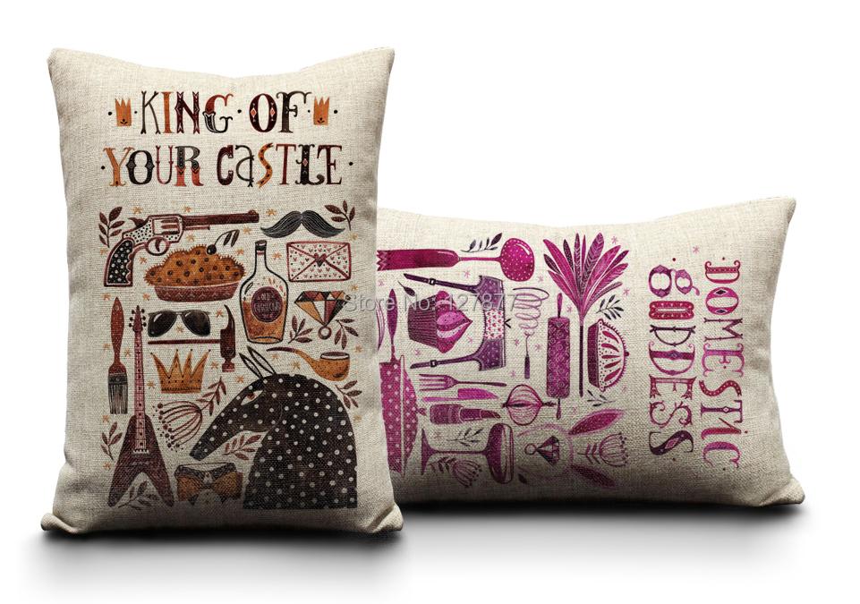 Goddess & king Throw Pillows. 30cm*50cm Modern Pillowcase. Home Decor Cotton Linen Decorative ...