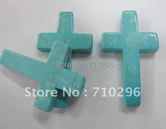 Natural Cross Turquoise stone Pendants 40*60 mm Fashion Jewelry Cross Pendant jewelry making 10pcs/lot(China (Mainland))