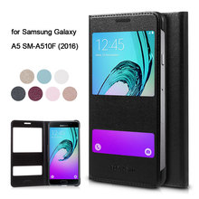 for Galaxy A 5 SM-A510F (2016) Leather Bag Dual View Windows Leather Phone Cover for Samsung Galaxy A5 SM-A510F (2016)