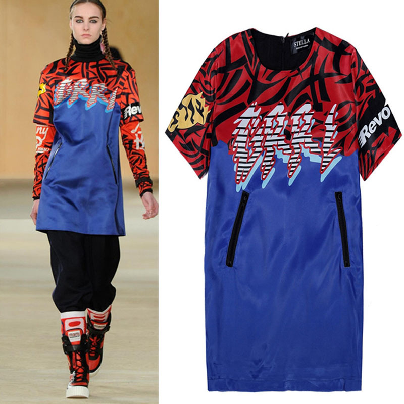 Sport Casual Club Runway Dresses 2015 Spring Women Dress Fashion Red Blue Hit Color Double Pocket Clothing Free Shipping(China (Mainland))