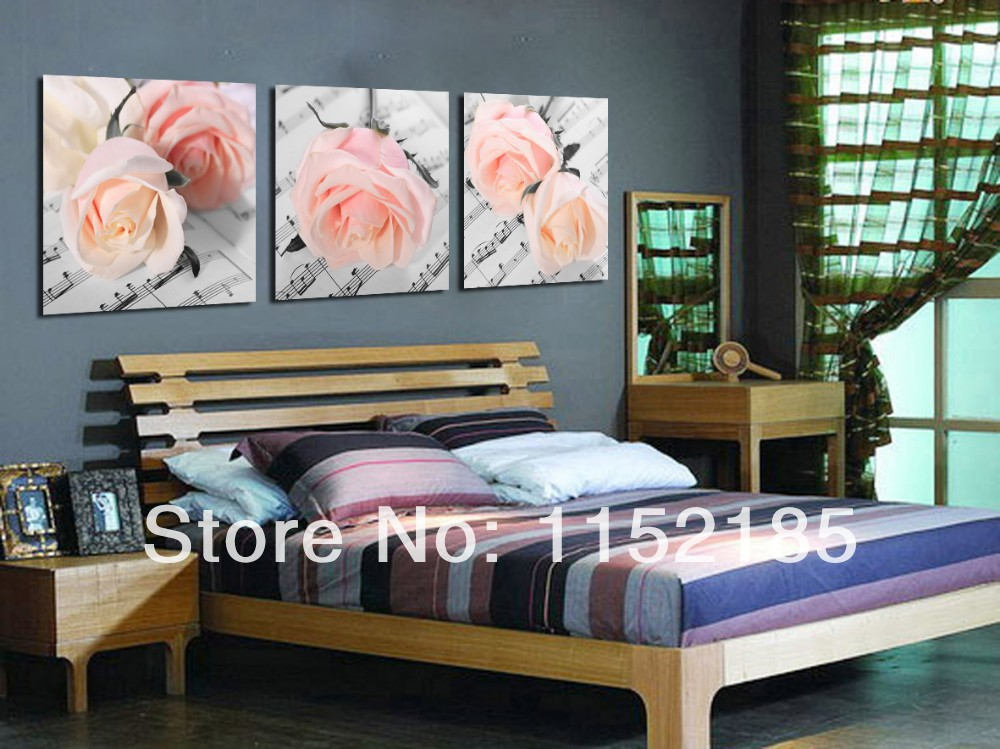 2016 Free Shipping Modern Pink Rose Flower Oil Paintings 3 Panel Wall Art Pictures For Living Room Bedroom Weeding Murals Decor(China (Mainland))